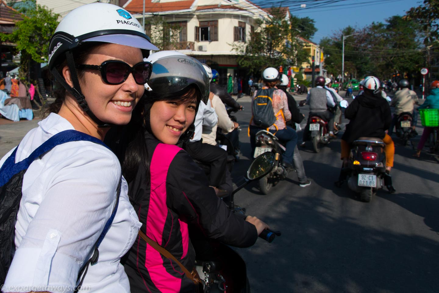 Exploring Hoi An from the back of a motorbike. Thank goodness it wasn't me driving!!