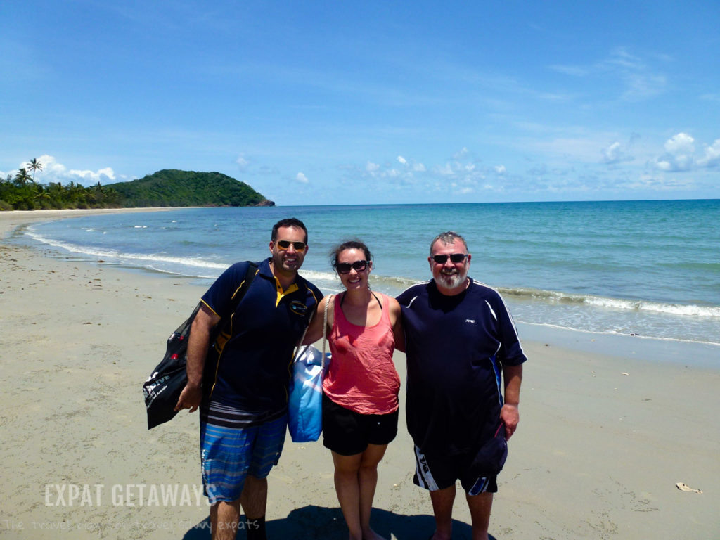 Where the rainforest meets the reef. Andrew, Dad and I after a snorkel trip with Ocean Safari