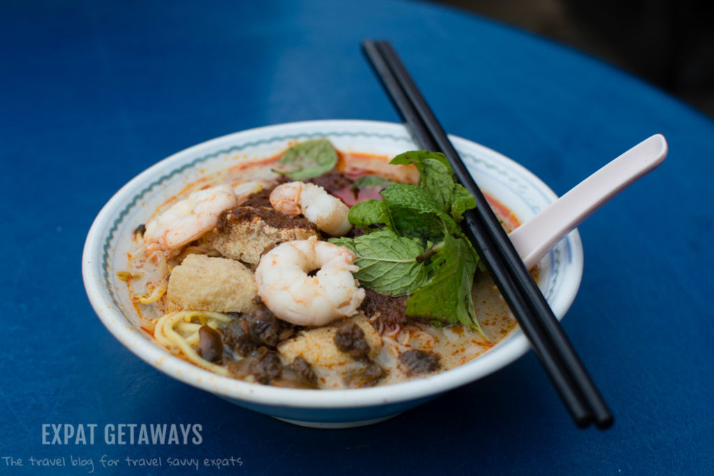Hokkien Mee, a prawny broth with Hokkien noodles and fresh flavours