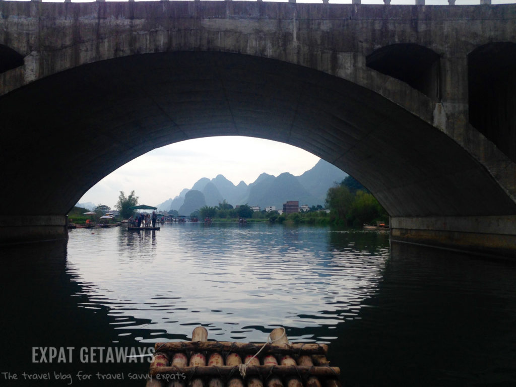 Cruising down the river on a bamboo raft in Yangshou