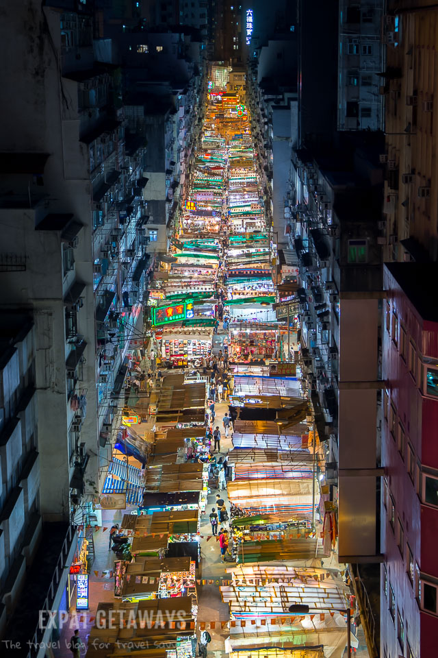 Shot over the top of the Temple Street Night Market in Hong Kong at Night